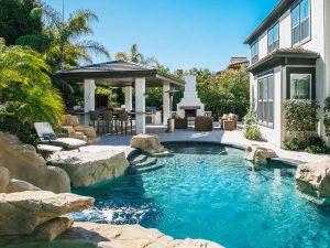 Backyard with a Pool - Cat in a Hammock
