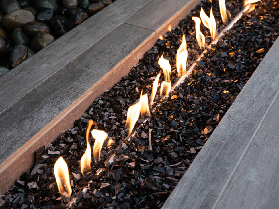 Fire Feature with Glass