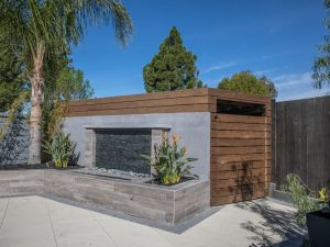 Water Feature and Modern Shed